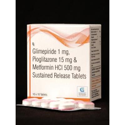 Glimepiride 1mg Pioglitazone 15mg Metformin HCI 500mg Tab