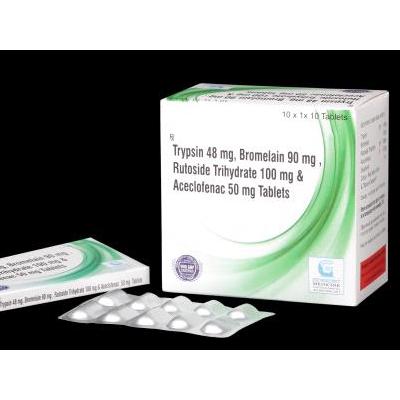Trypsin 48 MG,Bromelain 90 MG,Rutuside Trihydrate 100 MG & Aceclofenac 50 MG tab