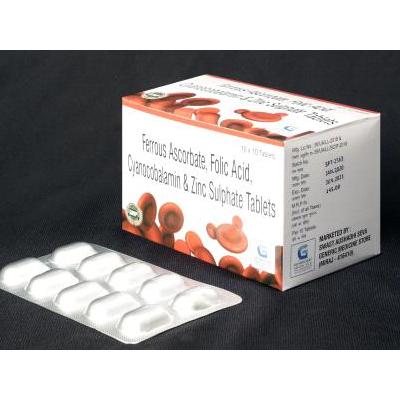 Ferrous Ascorbate, Folic Acid, Cyanocobalamin & Zinc Sulphate Tablets