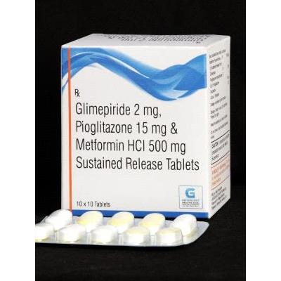 Glimepiride 2mg,Pioglitazone 15mg &Metformin HCL 500mg SR Tab